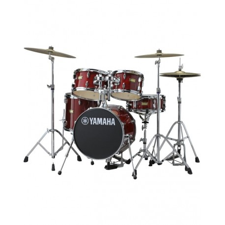 "Yamaha Complete Junior Drum Kit - 5 pieces - 16"" Kick - Cranberry Red"